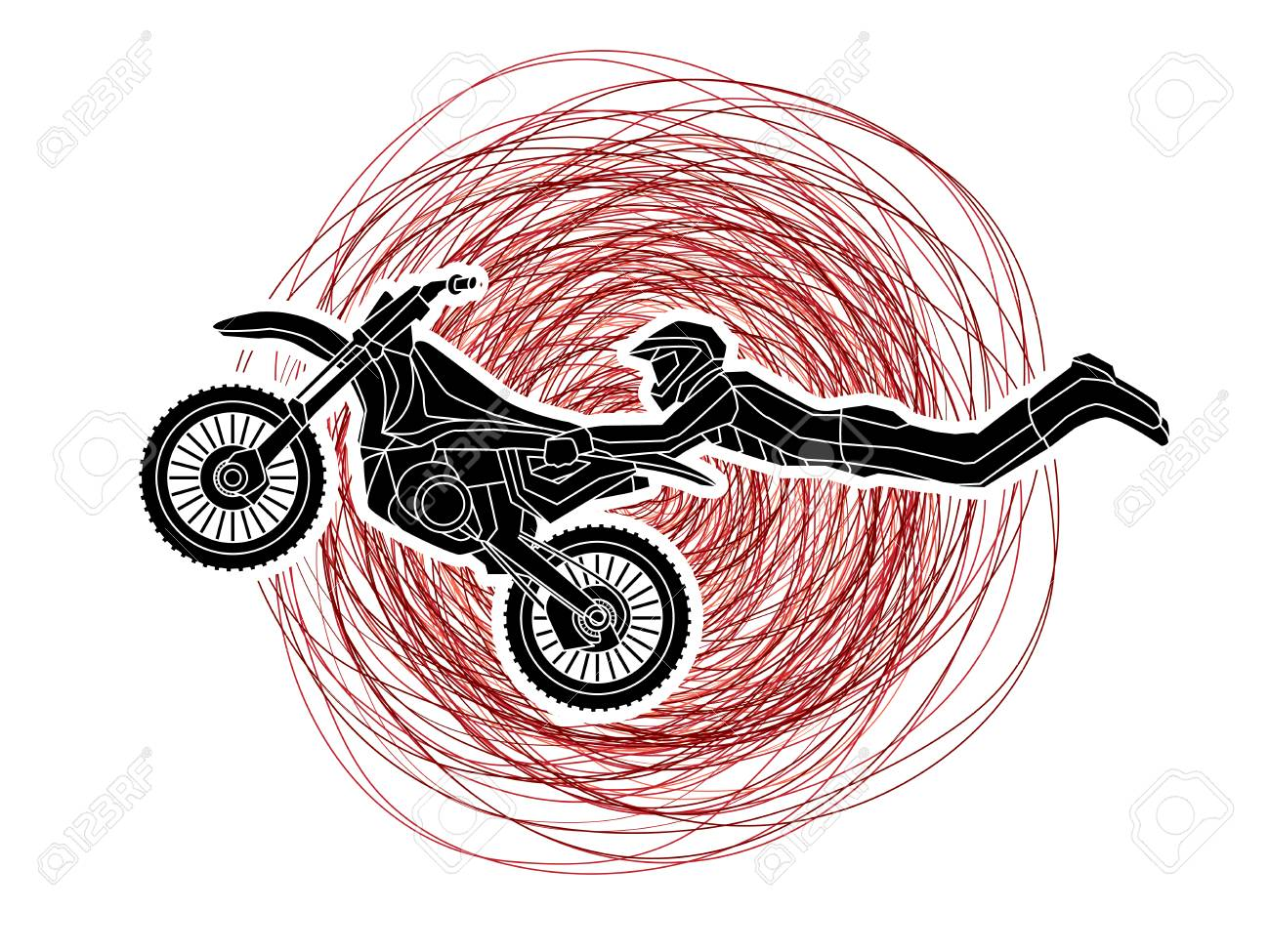 Freestyle Motocross Flying Trick Designed On Grunge Stroke Background Royalty Free Cliparts Vectors And Stock Illustration Image 70361451