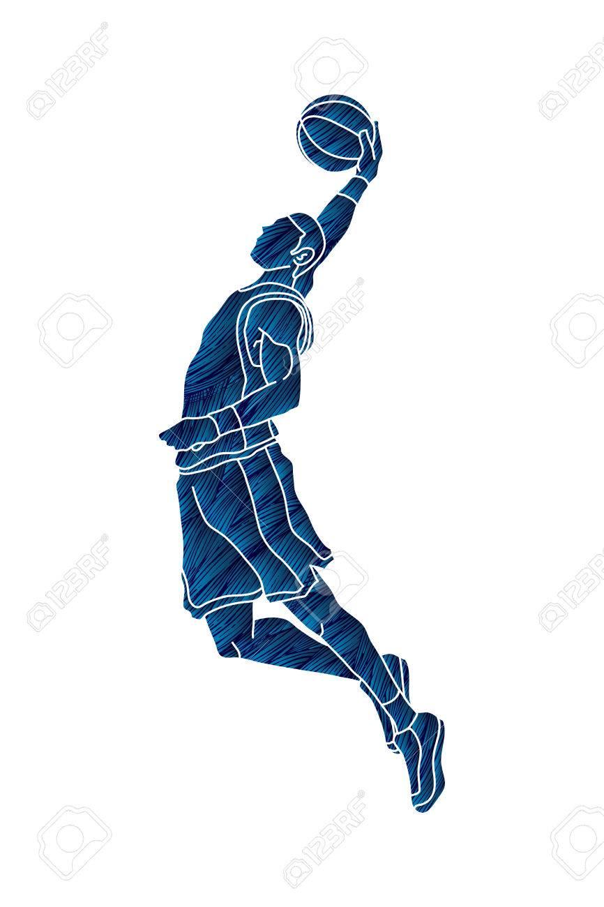 Basketball player dunking designed using grunge brush graphic vector - 83176148