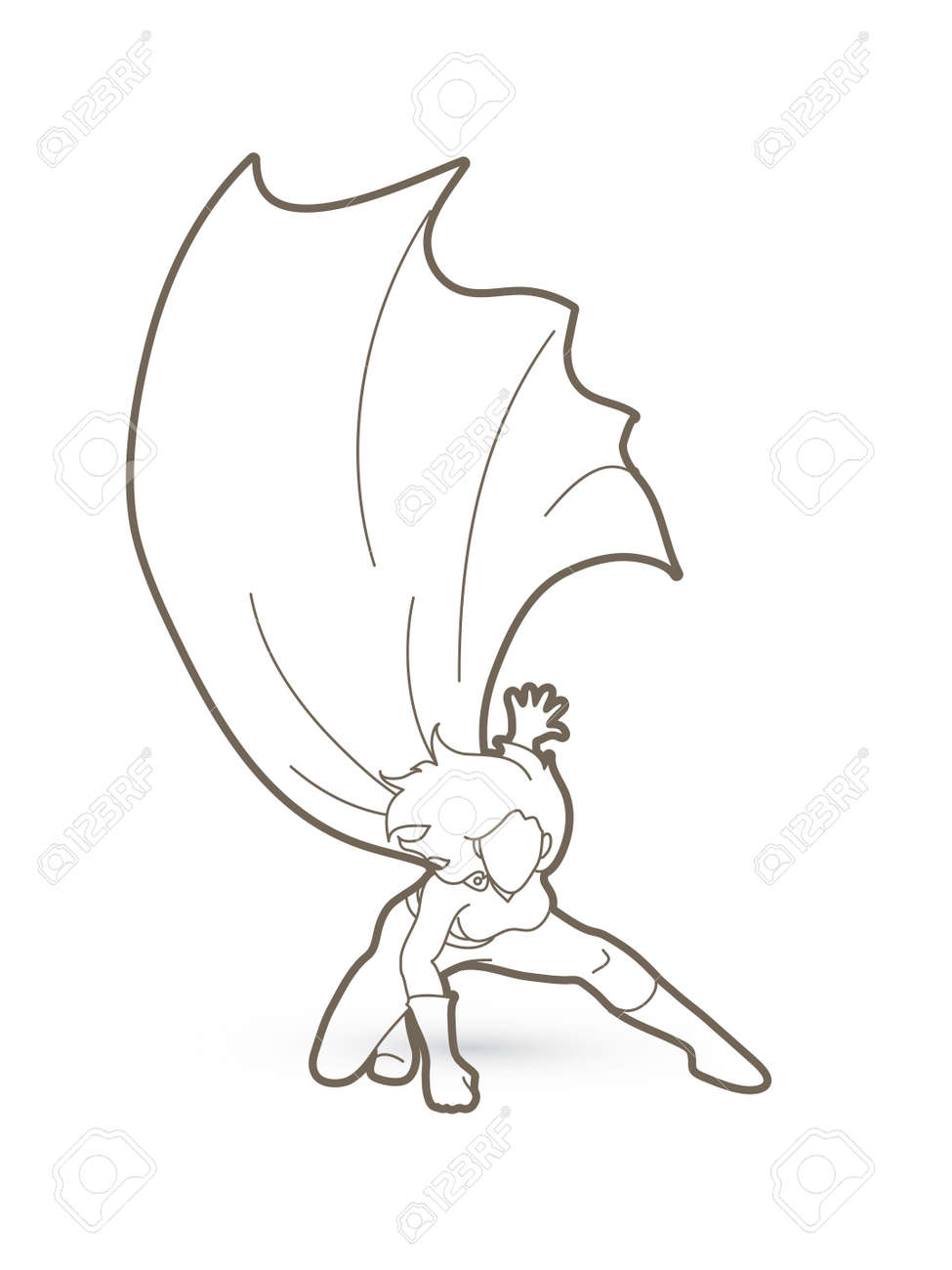strong woman superhero landing powerful action outline graphic