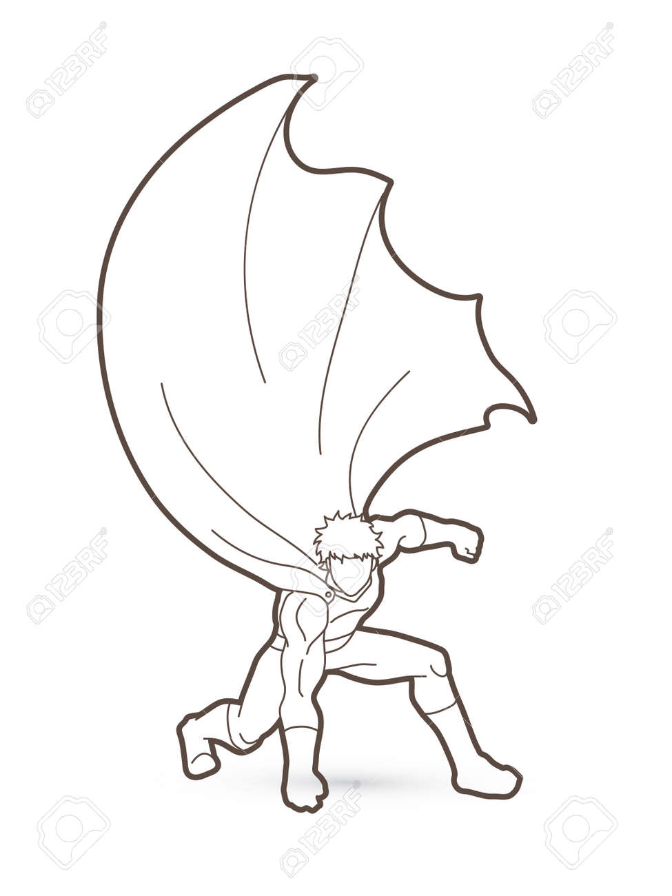 strong man superhero landing powerful action outline graphic