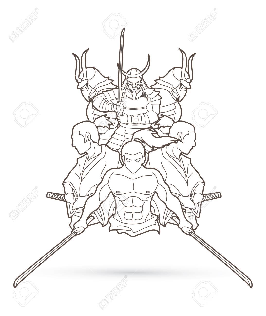 Grupo De Samurai Listo Para Luchar Vector Grafico De Contorno De Dibujos Animados De Accion Ilustraciones Vectoriales Clip Art Vectorizado Libre De Derechos Image 91703996