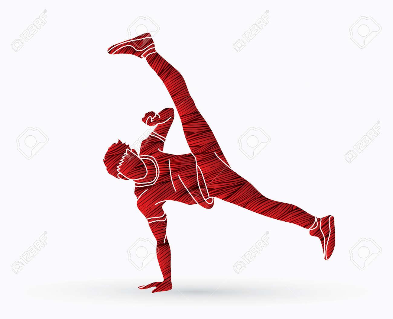 Street dance, B boys dance, hip hop dancing action designed using