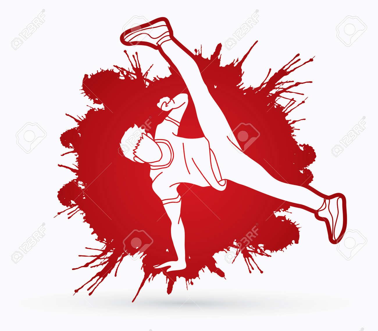 street dance b boys dance hip hop dancing action designed on