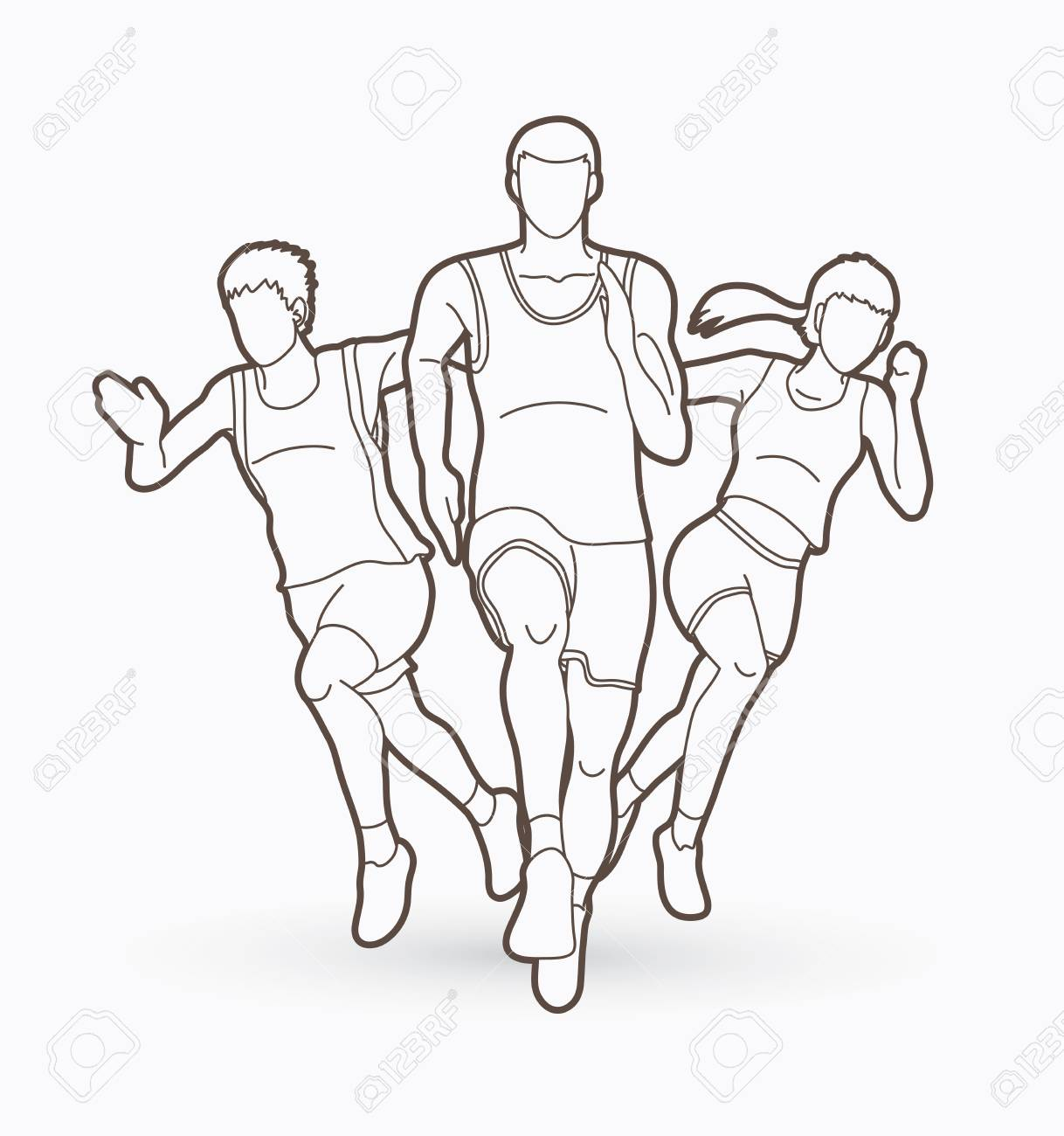 People Run Runner Marathon Running Team Work Group Of