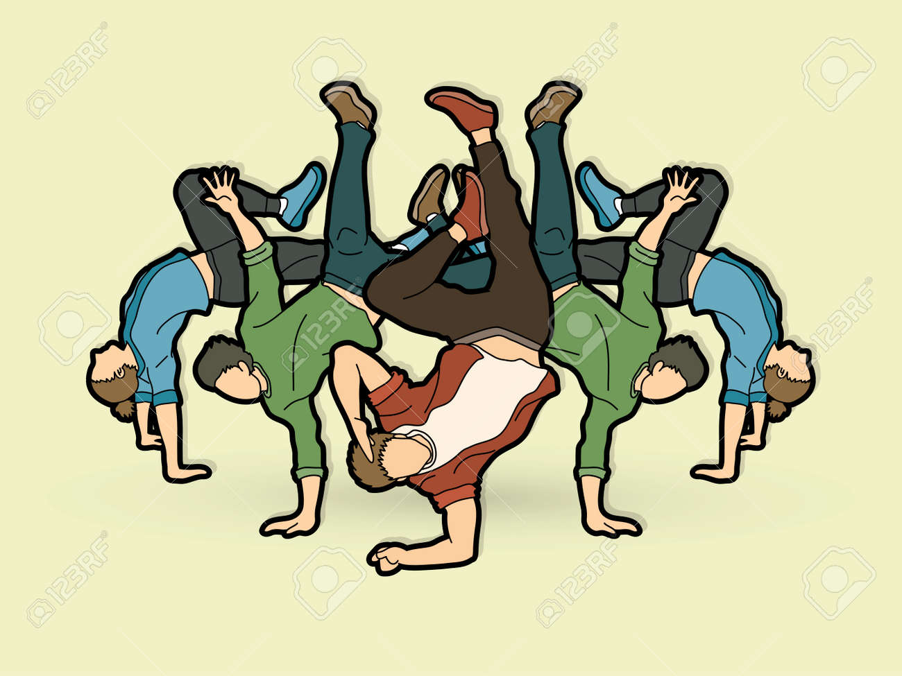 Group of people dancing. Composition graphic vector. - 96596724