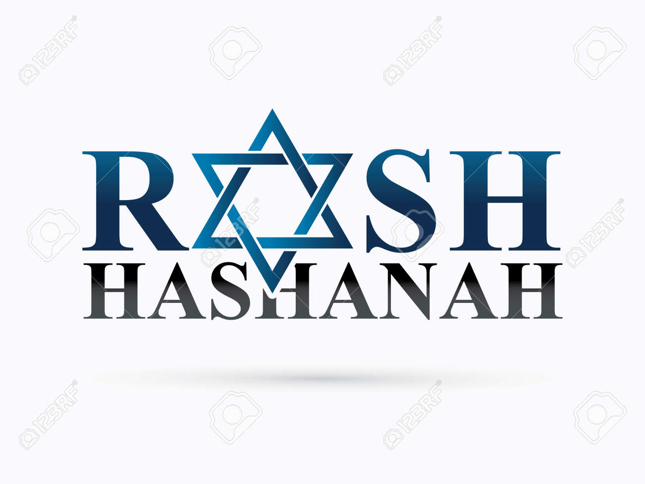 Rosh Hashanah text design, Rosh Hashanah is a Hebrew word meaning