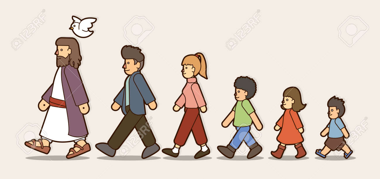 Walk With Jesus Follow Jesus Cartoon Graphic Vector Royalty Free Cliparts Vectors And Stock Illustration Image 115559429