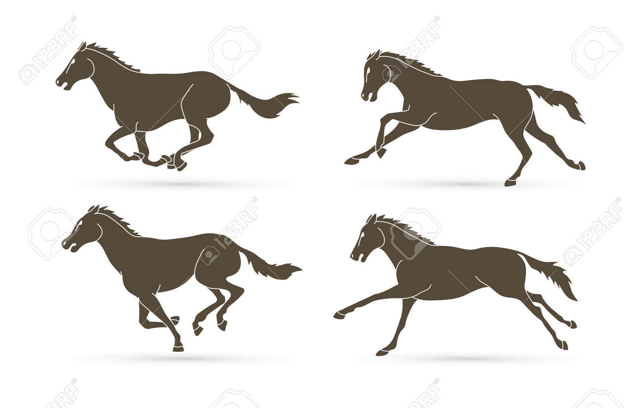 Group Of Horses Running Cartoon Graphic Vector Royalty Free Cliparts Vectors And Stock Illustration Image 127183966