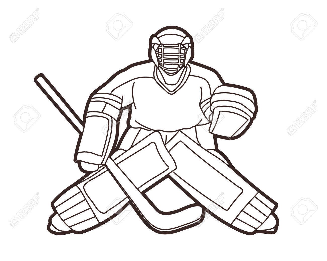 Ice Hockey Goalie Sport Player Cartoon Action Graphic Vector Royalty Free Cliparts Vectors And Stock Illustration Image 134459848