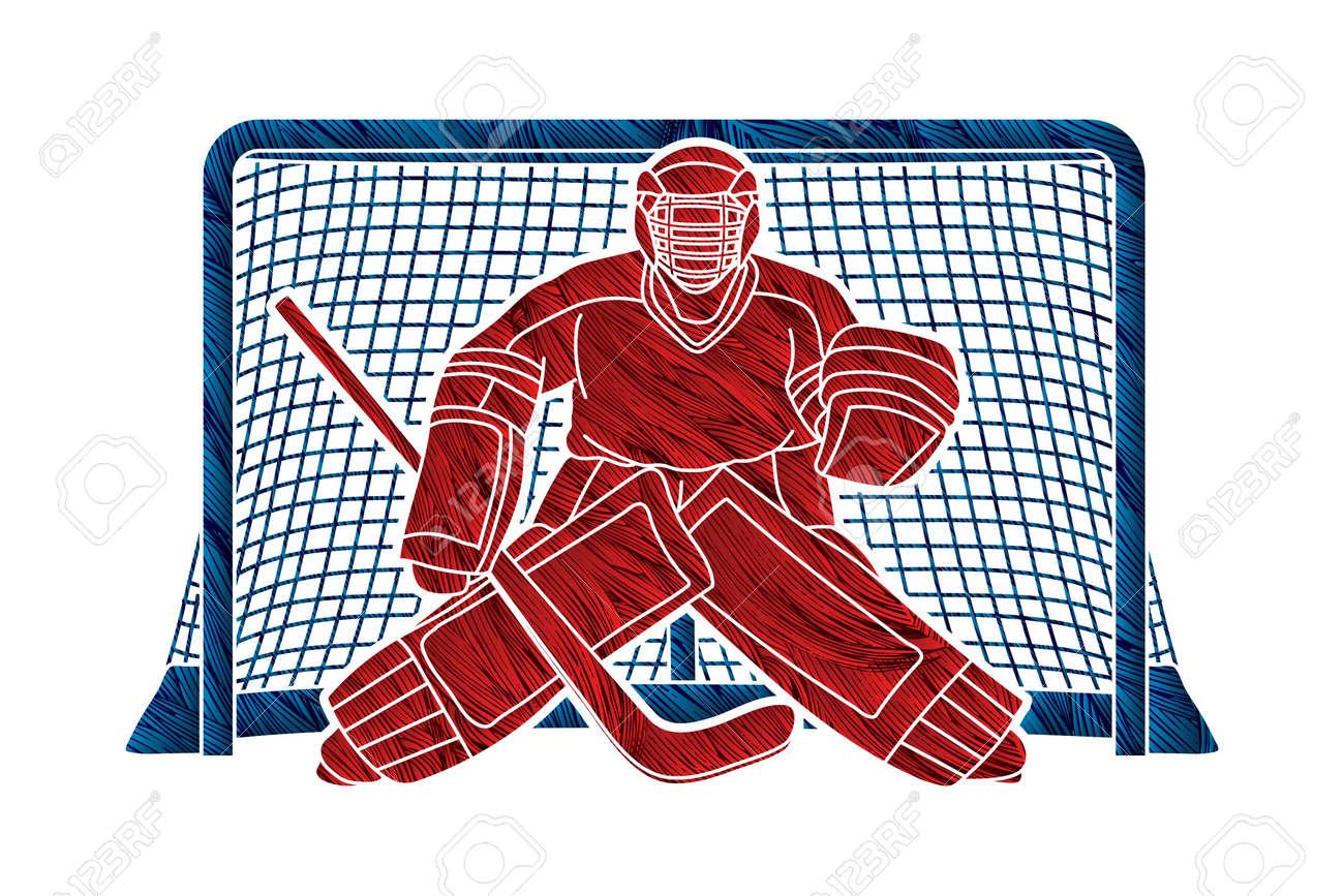 Ice Hockey Goalie, sport player cartoon action graphic vector. - 134459858