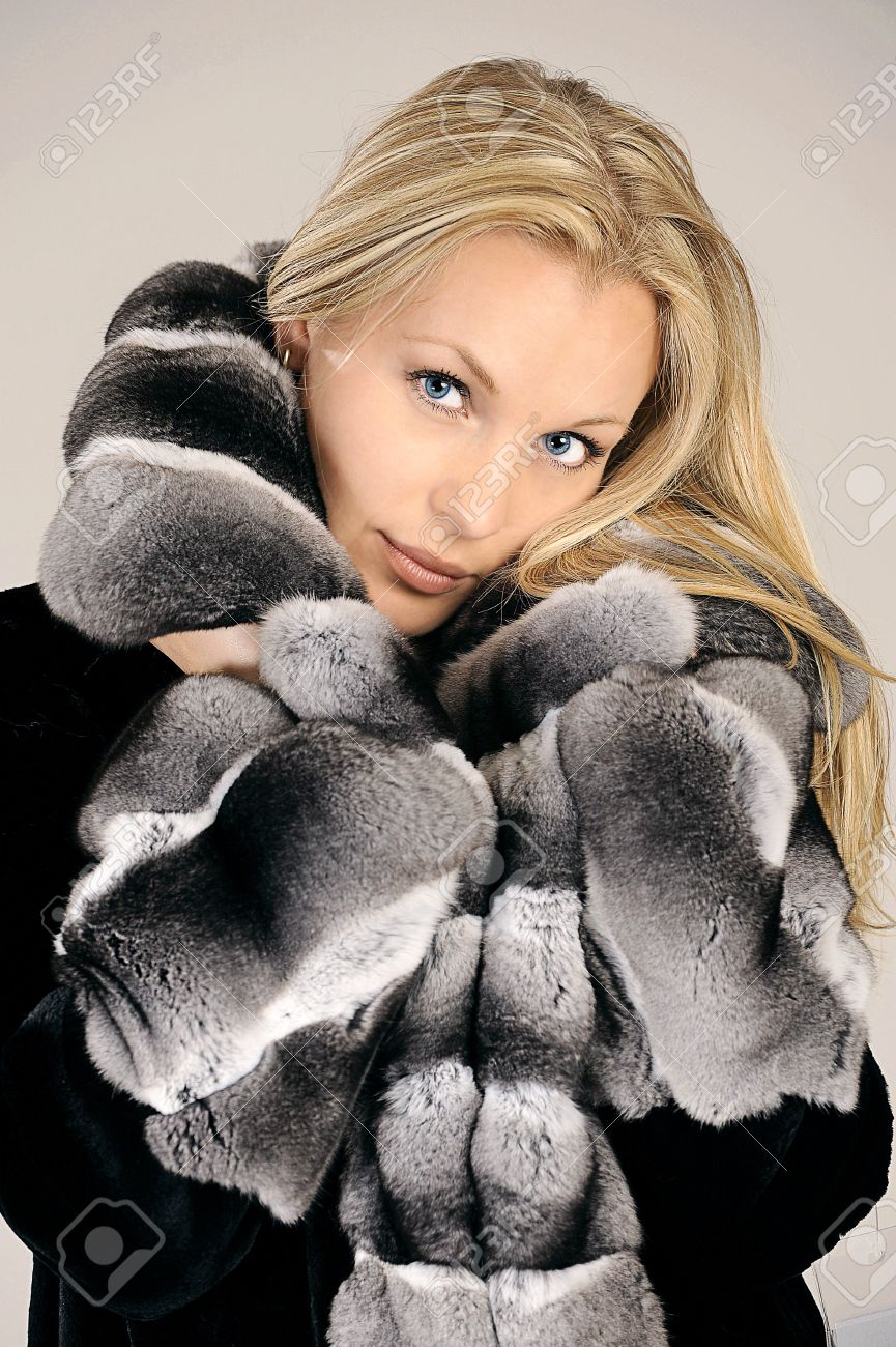 Beautiful Woman In Winter Fur Coat Stock Photo Picture And