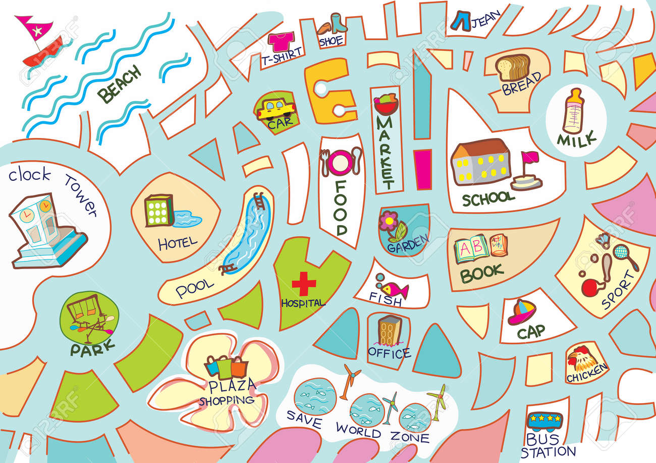 Map for kid activity, toy, accessary, item colorful Stock Vector - 7089779