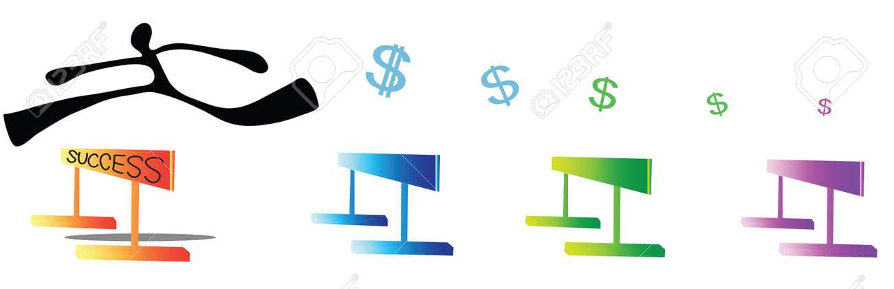 Man Laufen Und Springen 100-Meter-Hürdenlauf Haben Dollar-Symbol ...