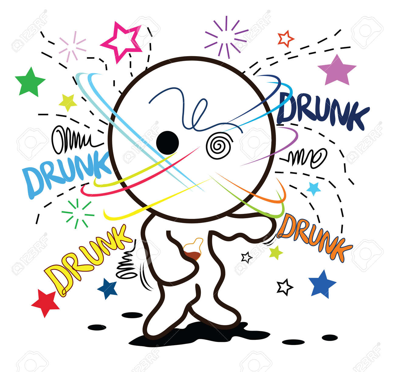 cartoon drunk when heavy drink alcohol ..so much..defunct. Stock Vector - 7620009