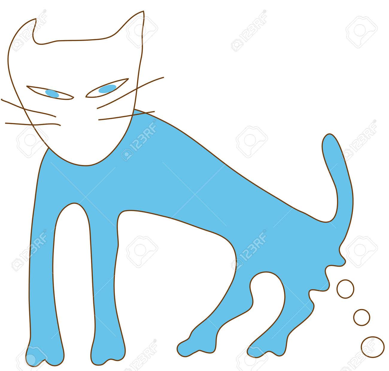Blue cat excrete in action Stock Vector - 12494039