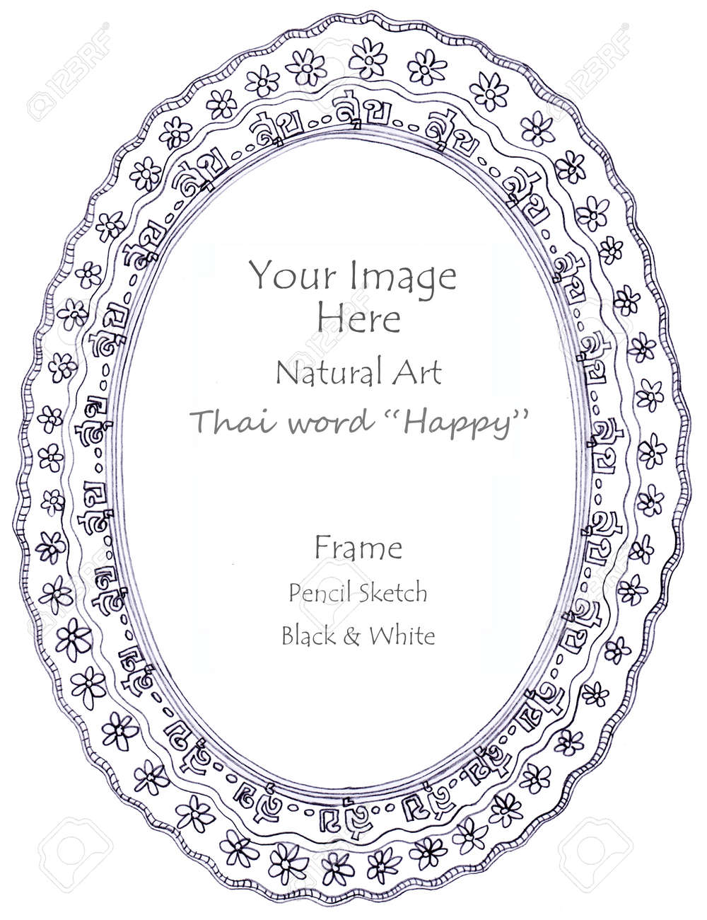 Frame thai word happy meaning and flower natural art line pencil sketch by hand my idea