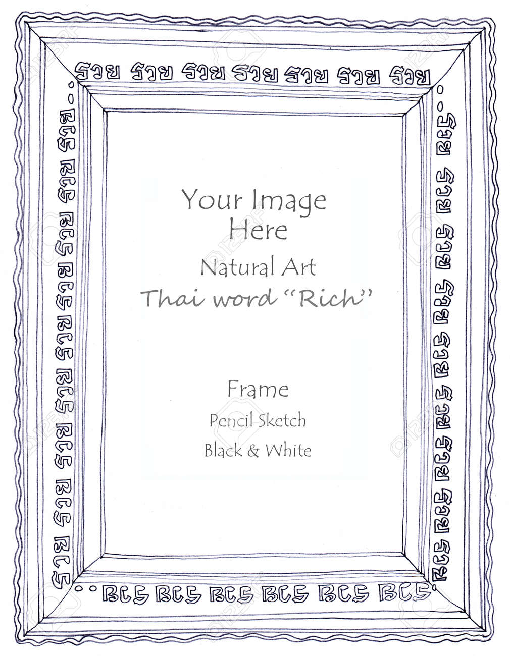 Frame thai word rich meaning and graphic wave art line pencil sketch by hand my idea