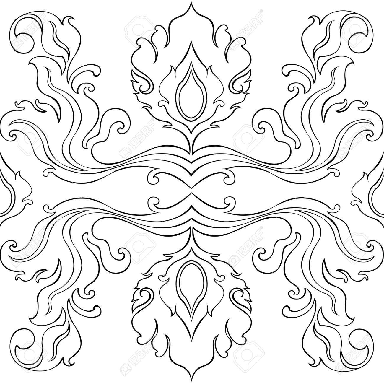Flores Patrón Y Dejar Diseño Gráfico Línea Arte Tailandés De Dibujo ...