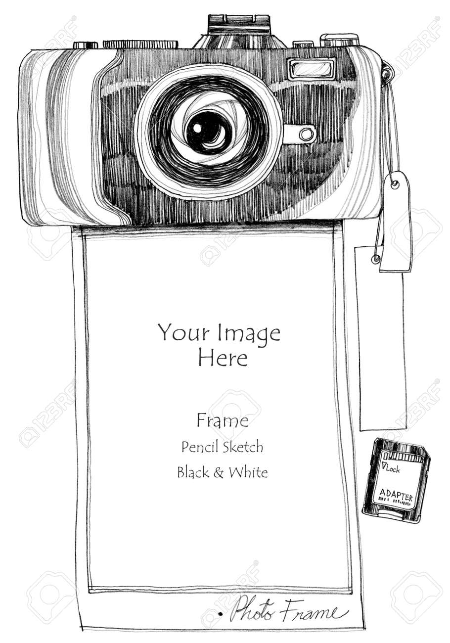 Photo frame camera printer pencil freehand sketch design on paper concept sewing pattern monotone in black