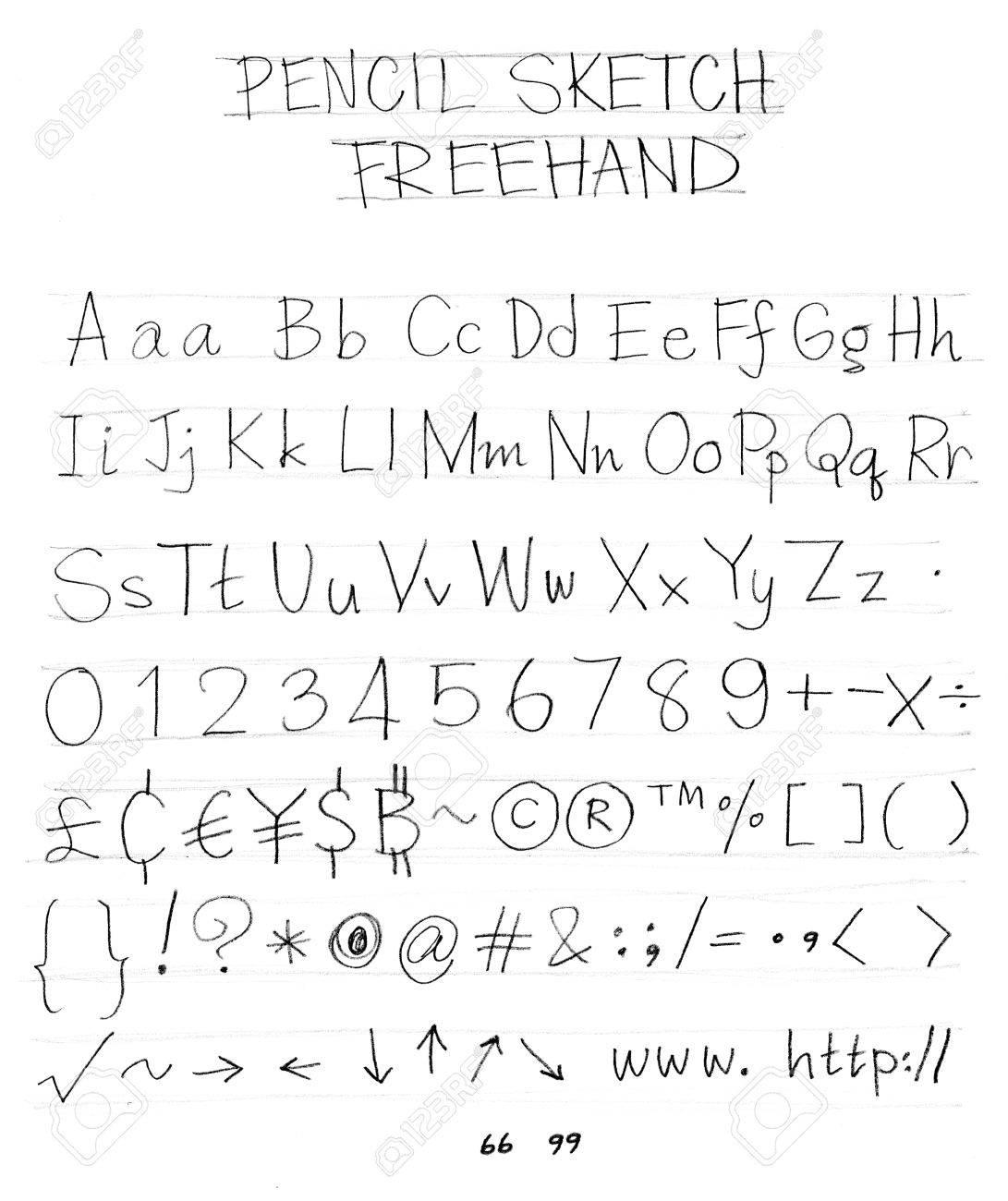 English font freehand alphabet pencil sketch art character design