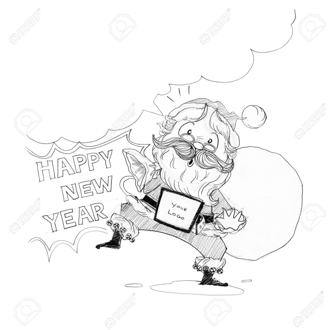Santa claus welcome acting happy new year merry christmas theme cartoon freehand pencil sketch for