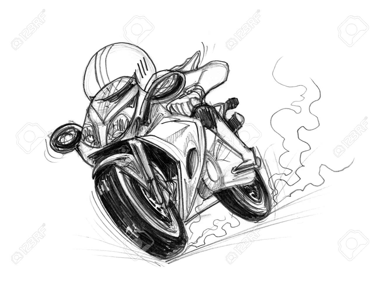 Bike speedy cartoon pencil sketch free hand black and white color isolated background stock photo