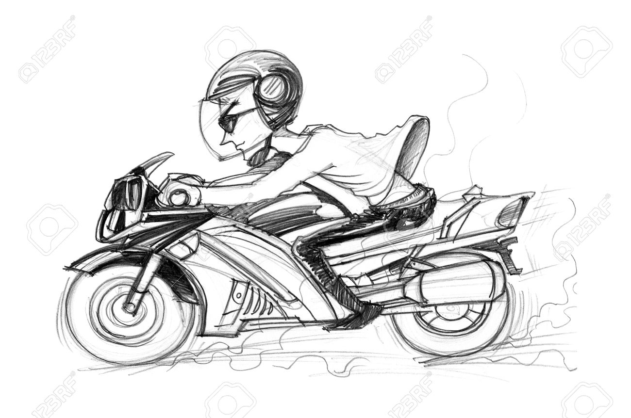 Man riding big bike cartoon pencil sketch black and white color isolated background stock photo