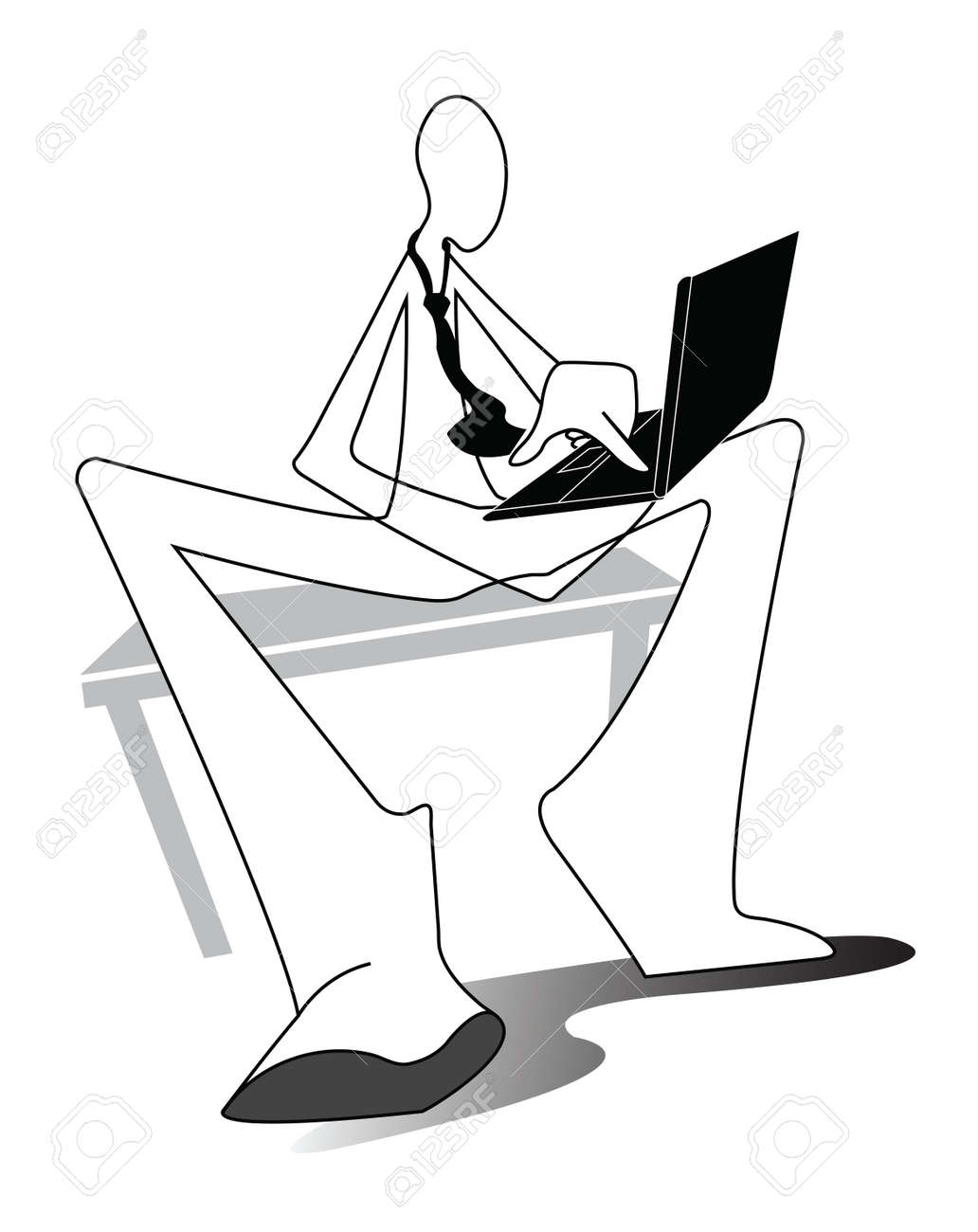 Man sitting in chair drawing - Business Man Working Connection Social Network On Computer Lab Top Sit On The Chair Chesterfield Shadow