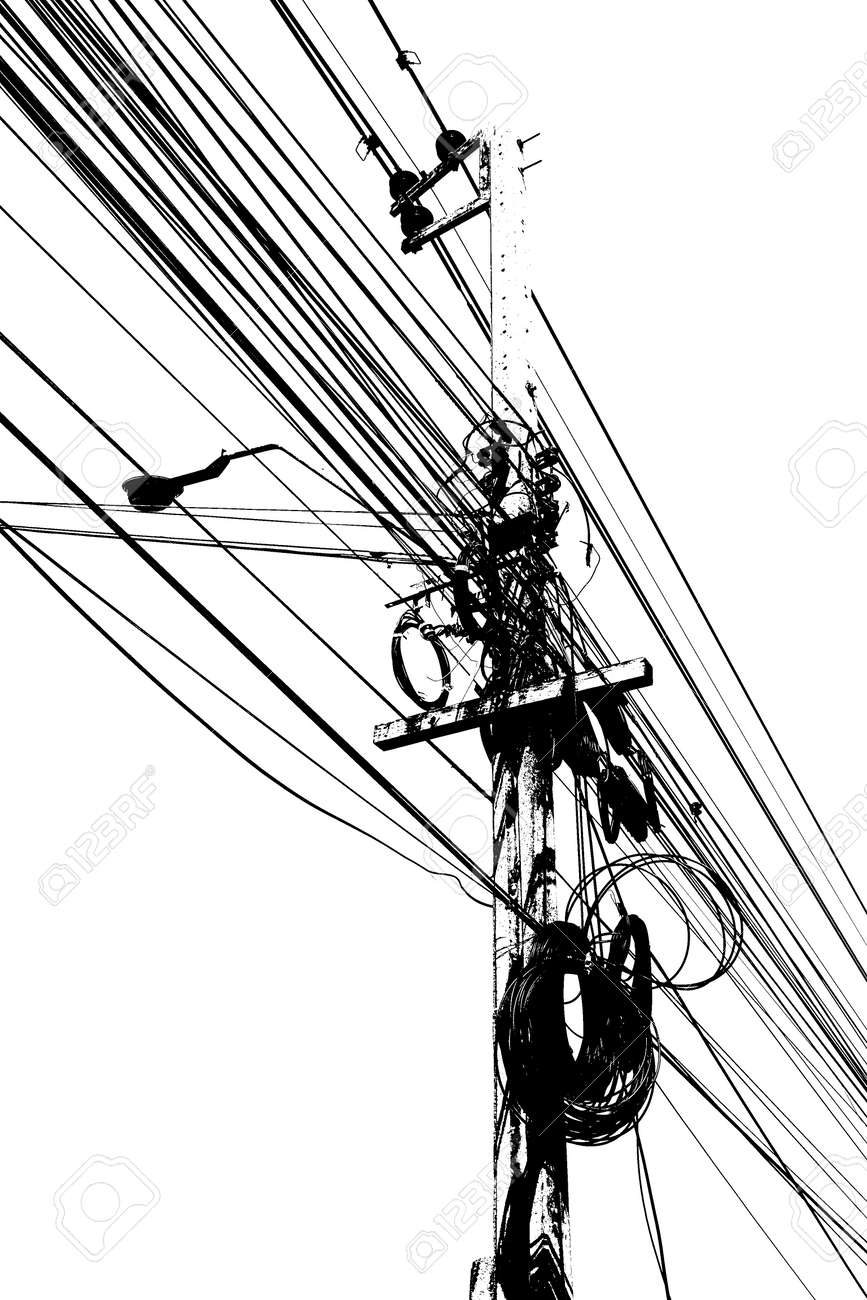 Electronic And Cable Line Graphic Art Line Black And White Color ...