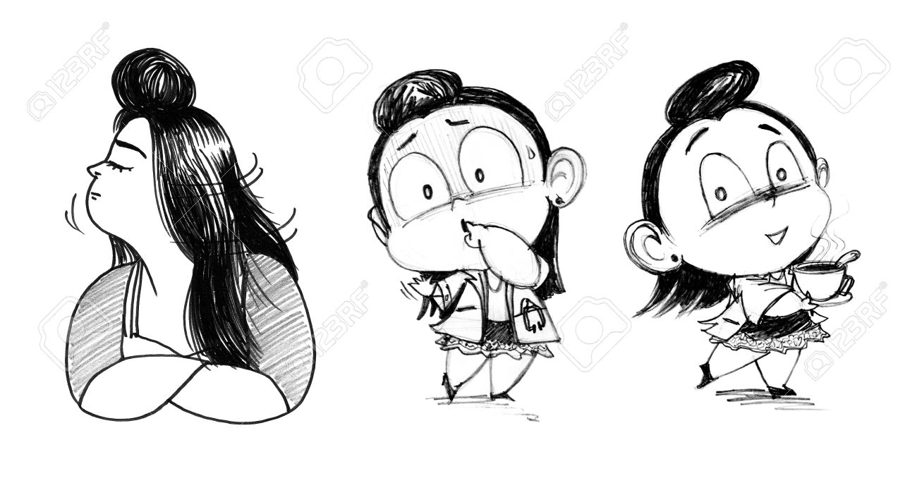 Doctor fat female character cute design pencil sketch have paper texture noise stock photo