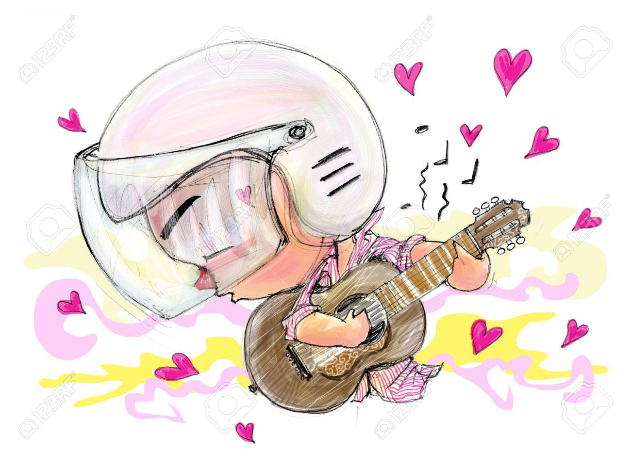 Tocar La Guitarra Canción De Amor De Movimiento Gente Que él En El