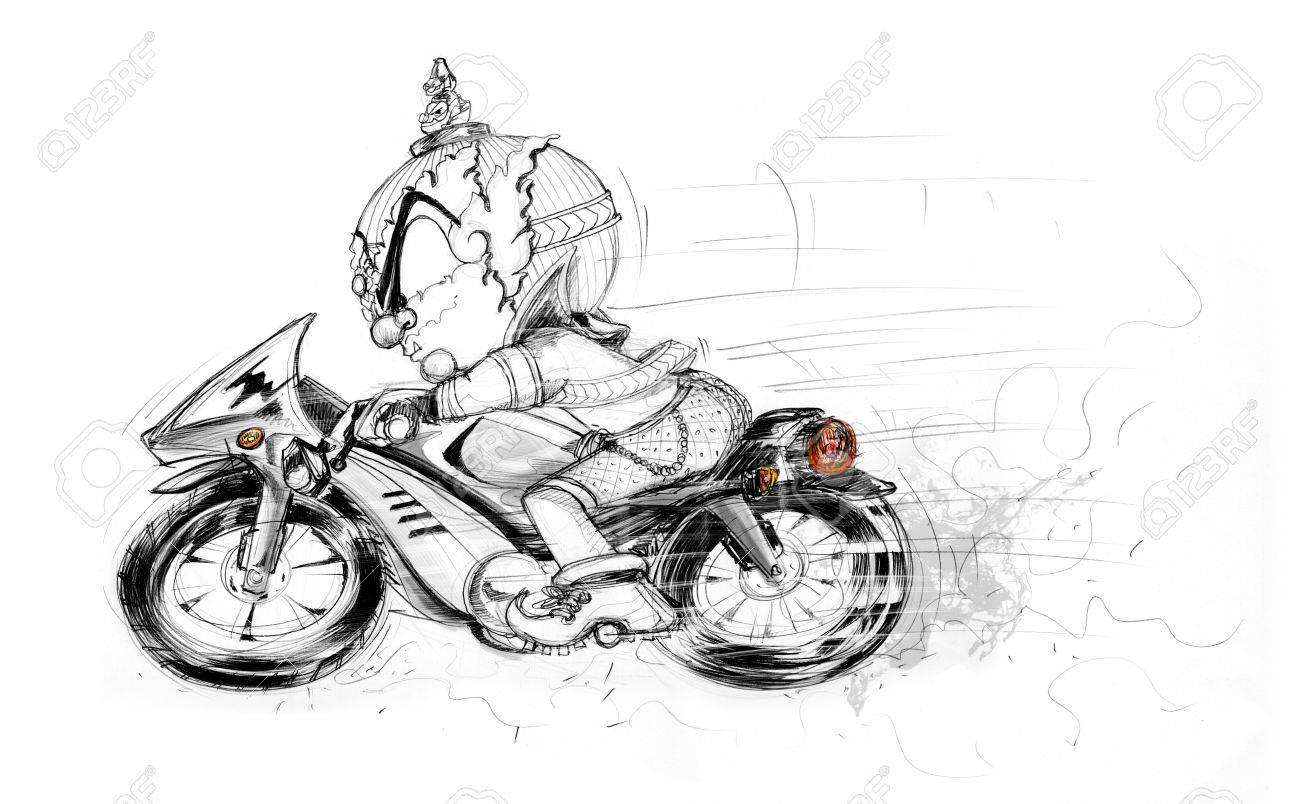 Motorista Gigante Tailandés Que Librar Moto Grande Dibujos Animados