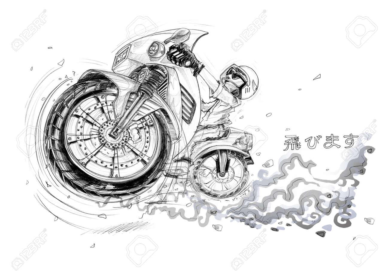 El Hombre Montado En Moto Grande En La Carretera Y Saltar Volar A