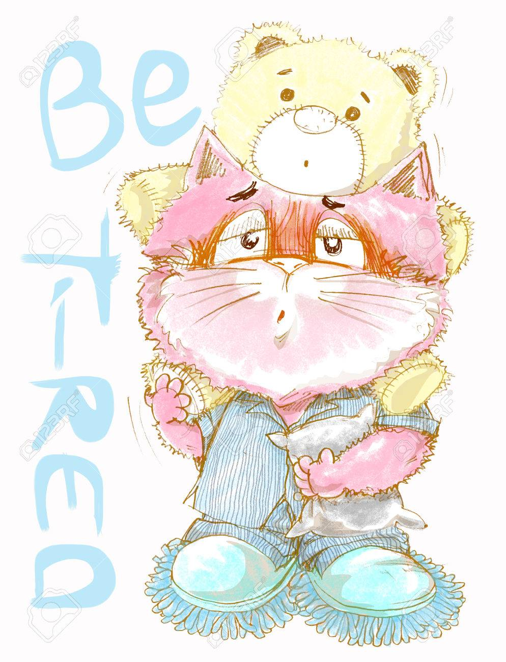 Cute Cat Be Tired Want Go To Sleep Acting Cat Character Pencil