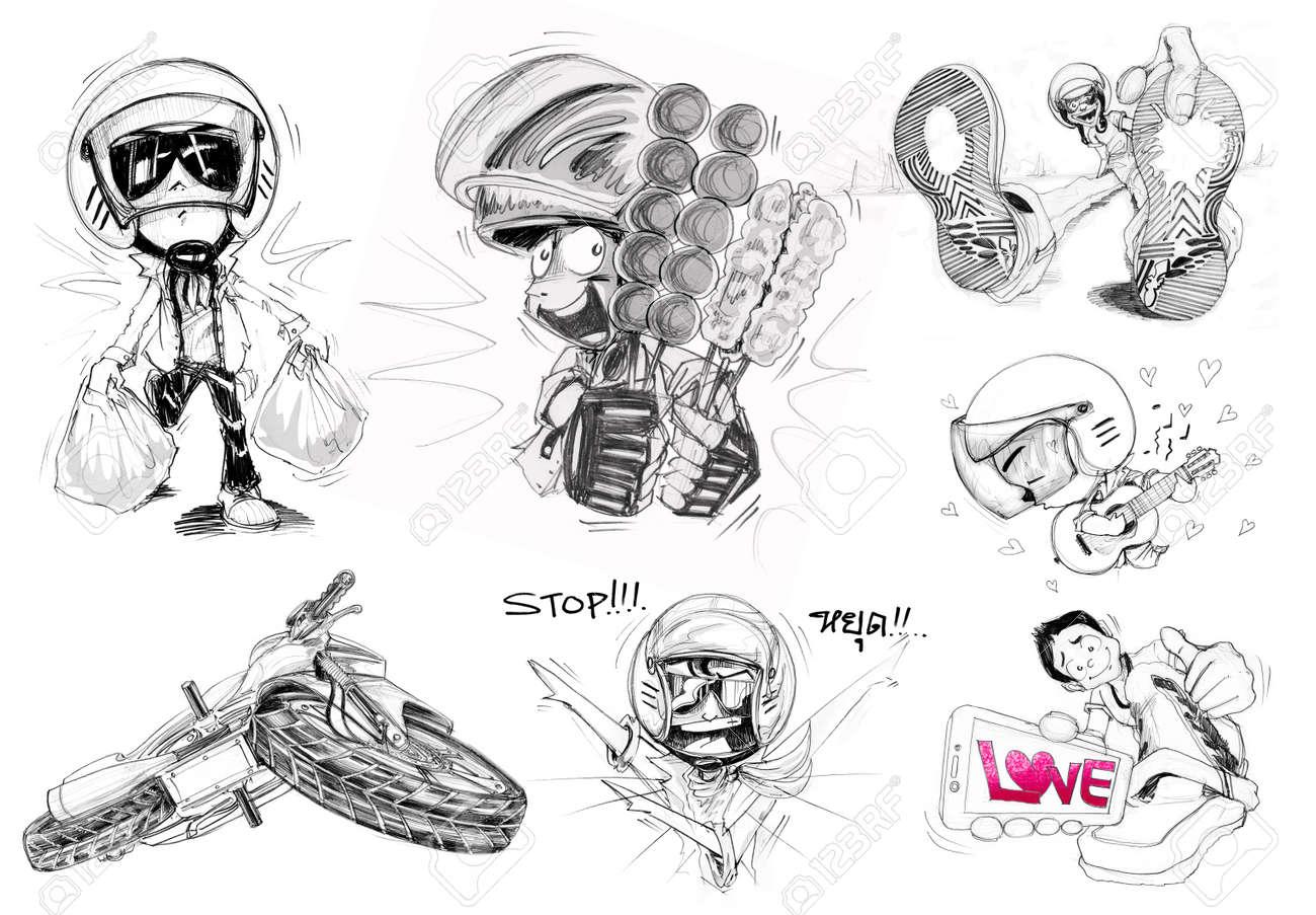 Biker cartoon character design 6 acting and big bike bottom view