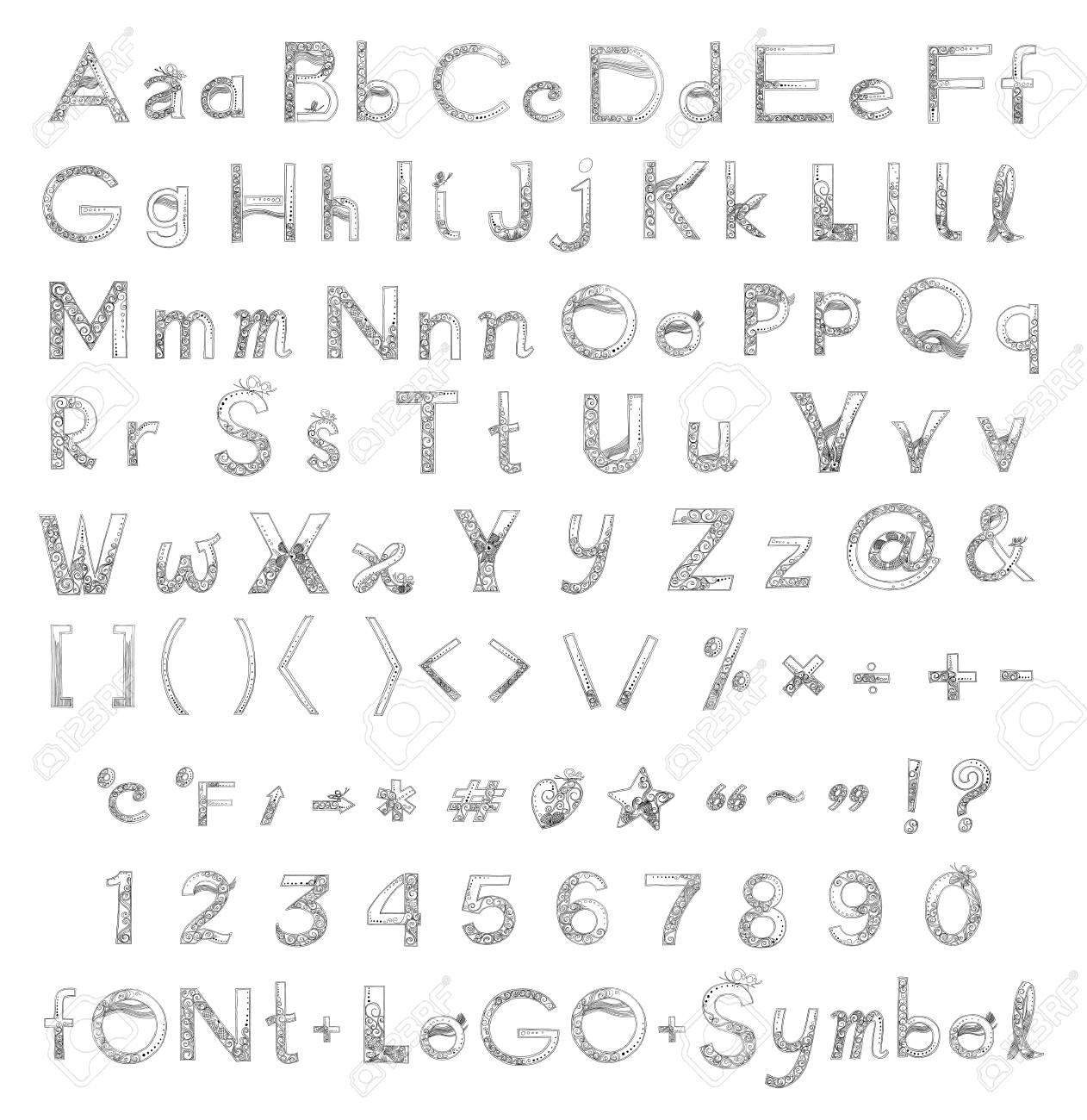 Font a to z and number design of vanda orchid flower freehand