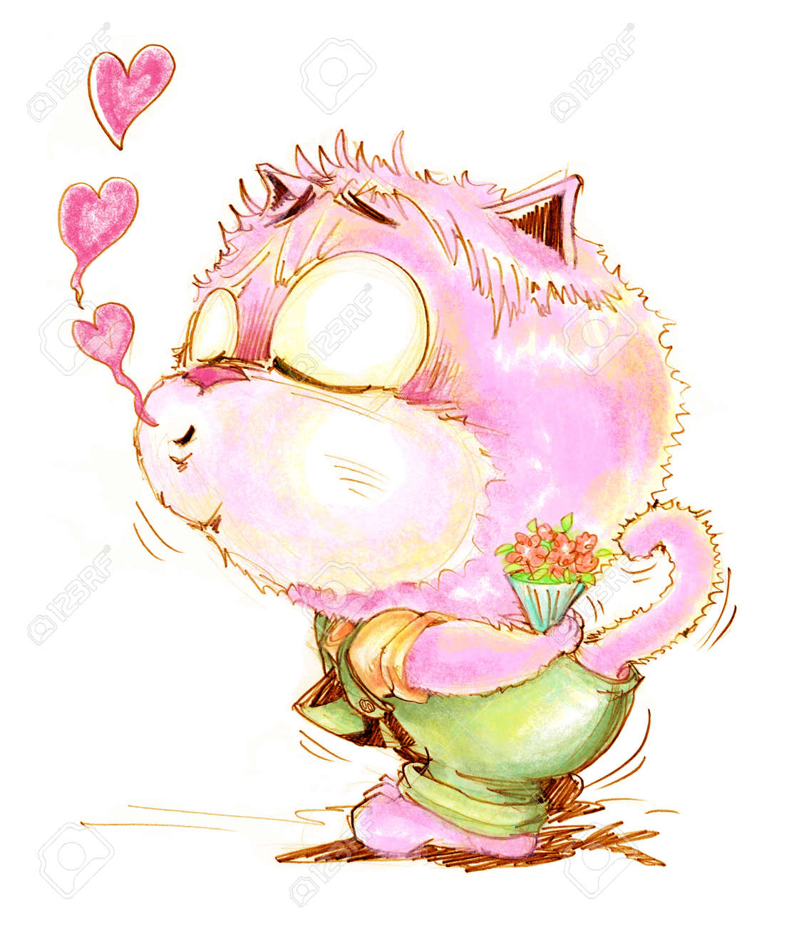Beso Del Gato En El Amor Muy Linda Que Tiene Flores Para La Novia Y