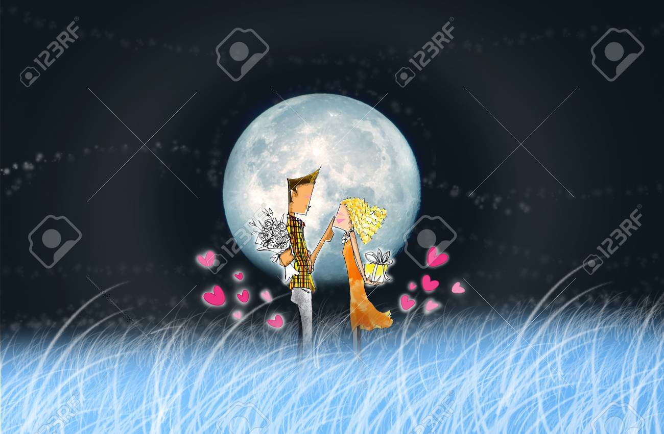 the lover in full moon night romantic and nice shot cartoon pencil