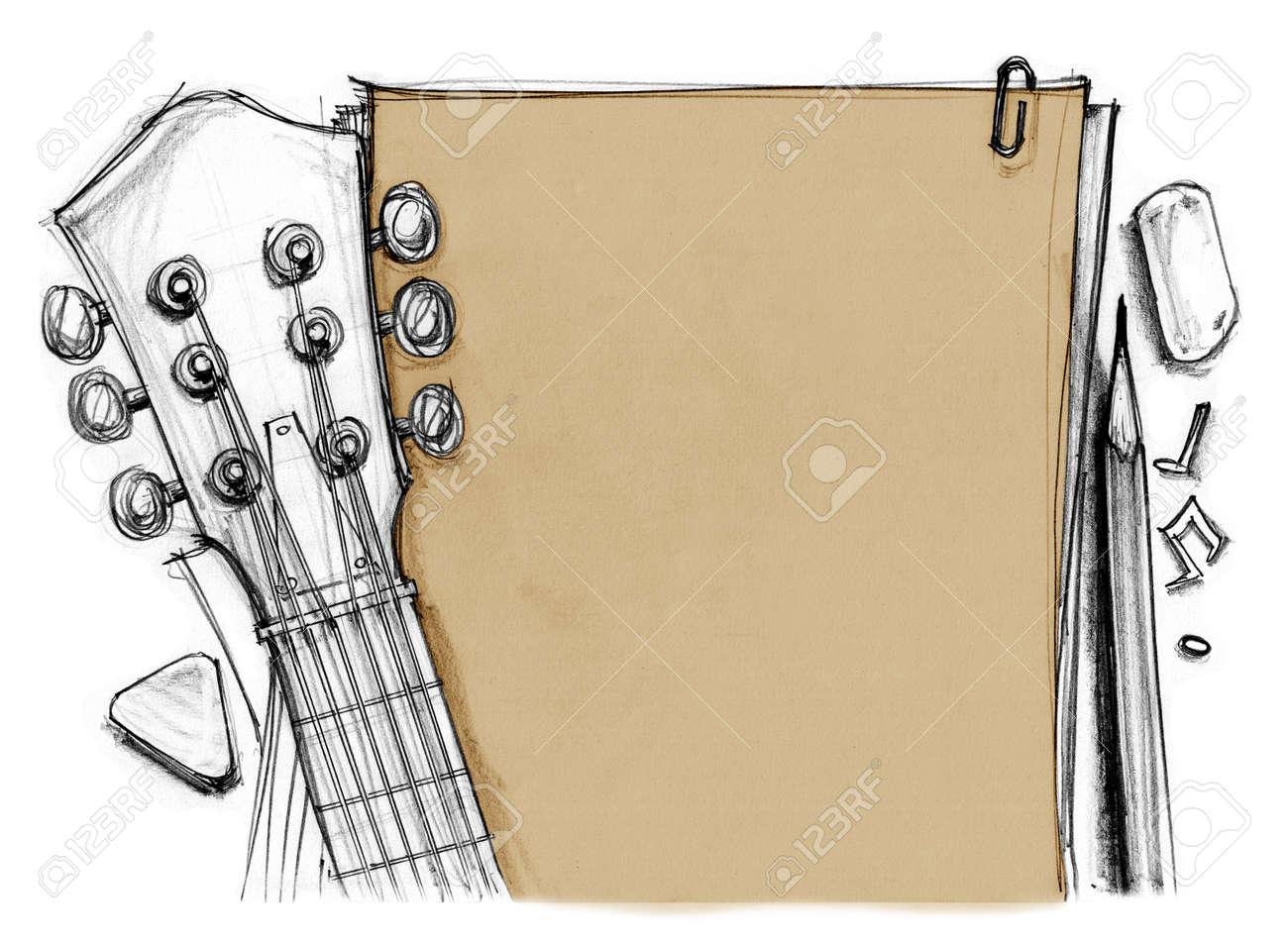 Fondo De Goma De Libro Lápiz Nota Con La Cosecha De Guitarra En El Cabezal Tuning Clavijas Traste Dedo Y Recoger Dibujado A Mano áspera Dibujo