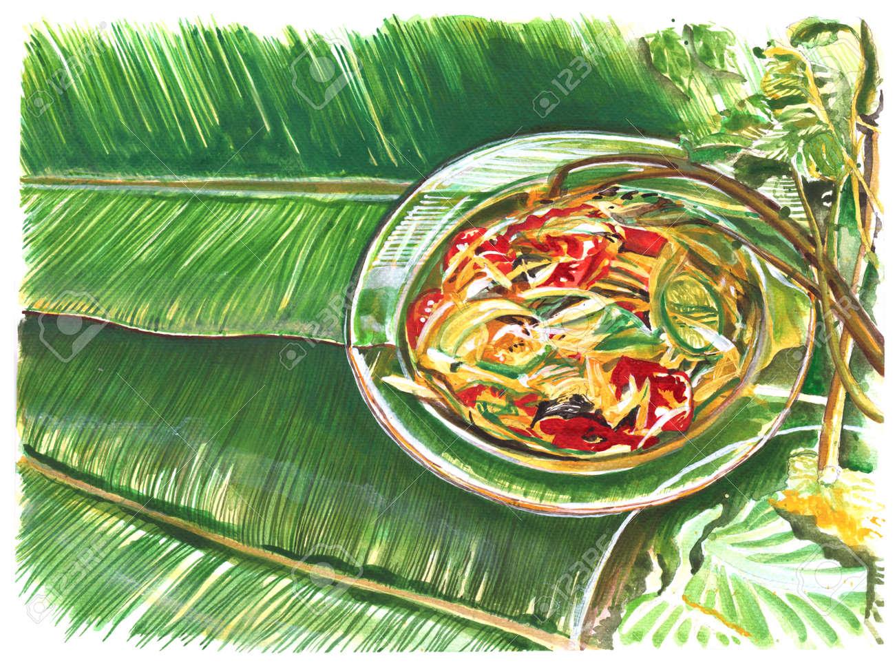 Thai Essen Malerei Ist Papaya Slad In Glasschale, Lieblings-Kräuter ...