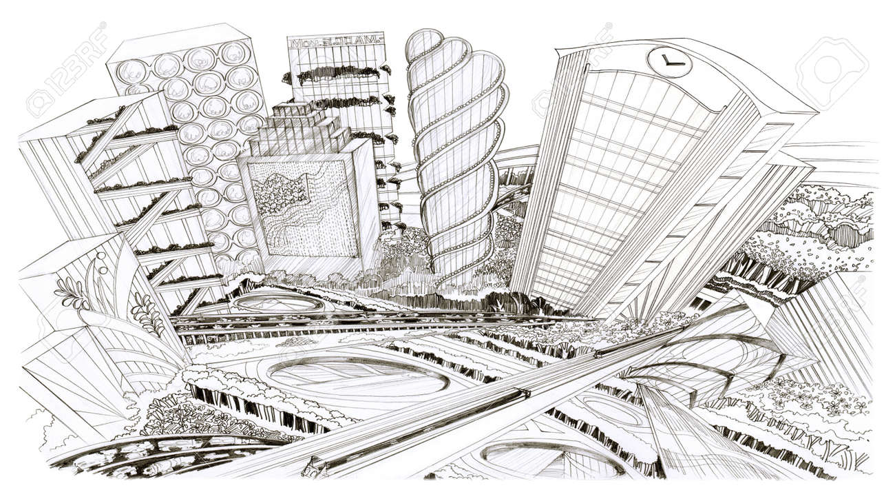Landscape the city bird eye view pencil sketch design for background black and white stock