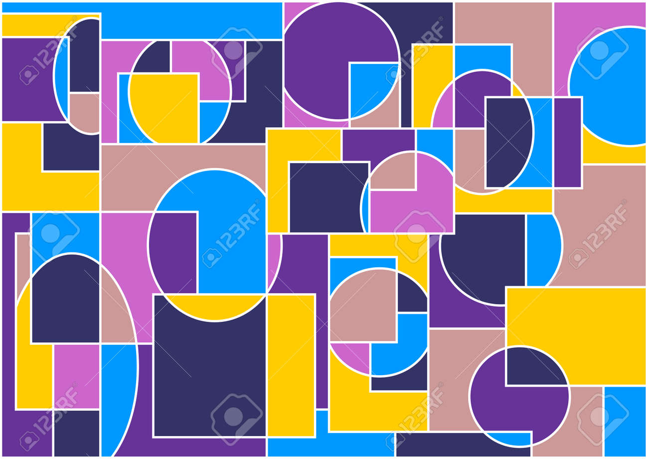 Geometrical abstract background.The different coloured figures are united in one unit.Vectorial illustration. Stock Vector - 6372621