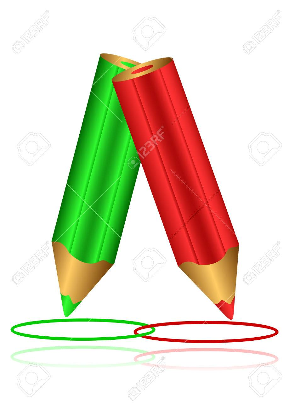 Red and green pencils draw circles on a white background. Circles of red and green color. Stock Vector - 7885070