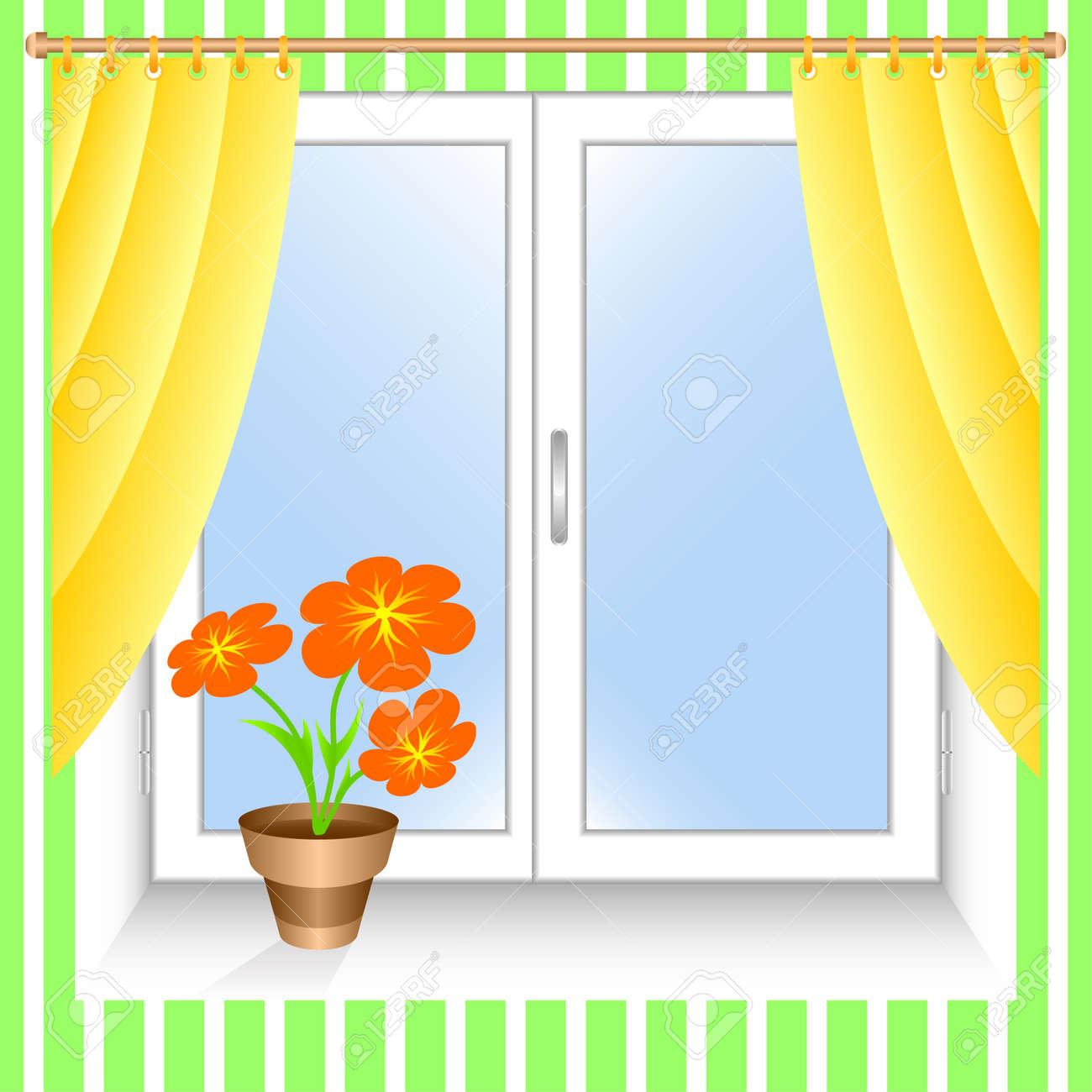 Fenster geschlossen clipart  Fenster Und Gelb Vorhänge. Ein Blumentopf Auf Dem Fensterbrett ...