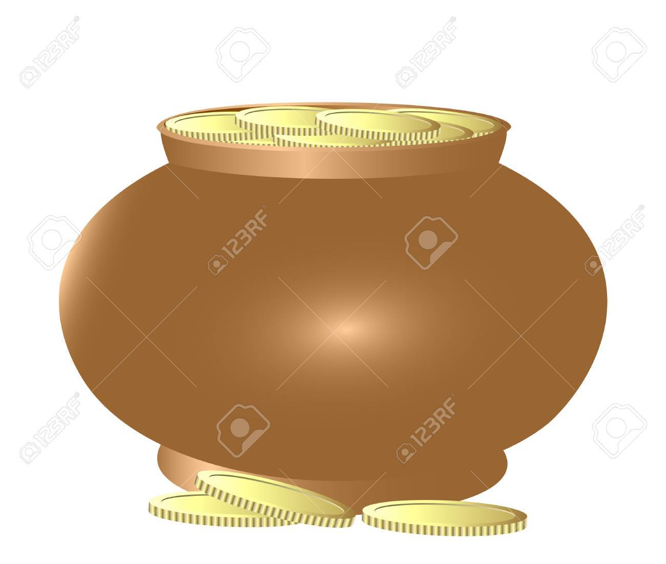 Copper pot filled with gold coins. A composition on a white background. Stock Vector - 8780447