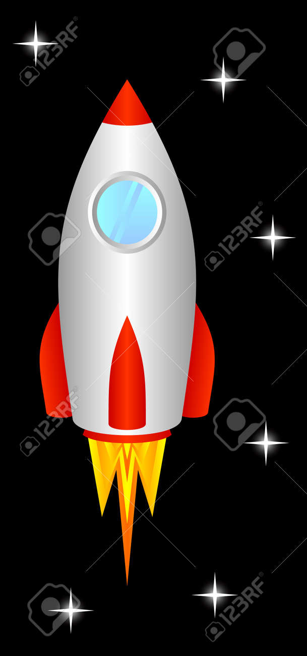the space rocket flies upwards to space royalty free cliparts