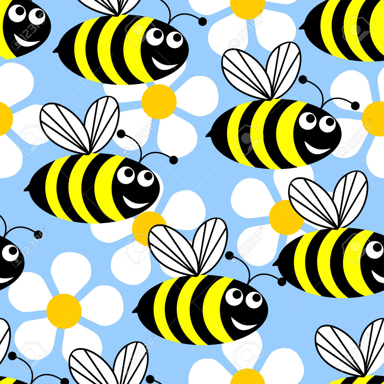 Seamless background in the form of flying bees and white flowers on a blue background. Stock Vector - 9334090