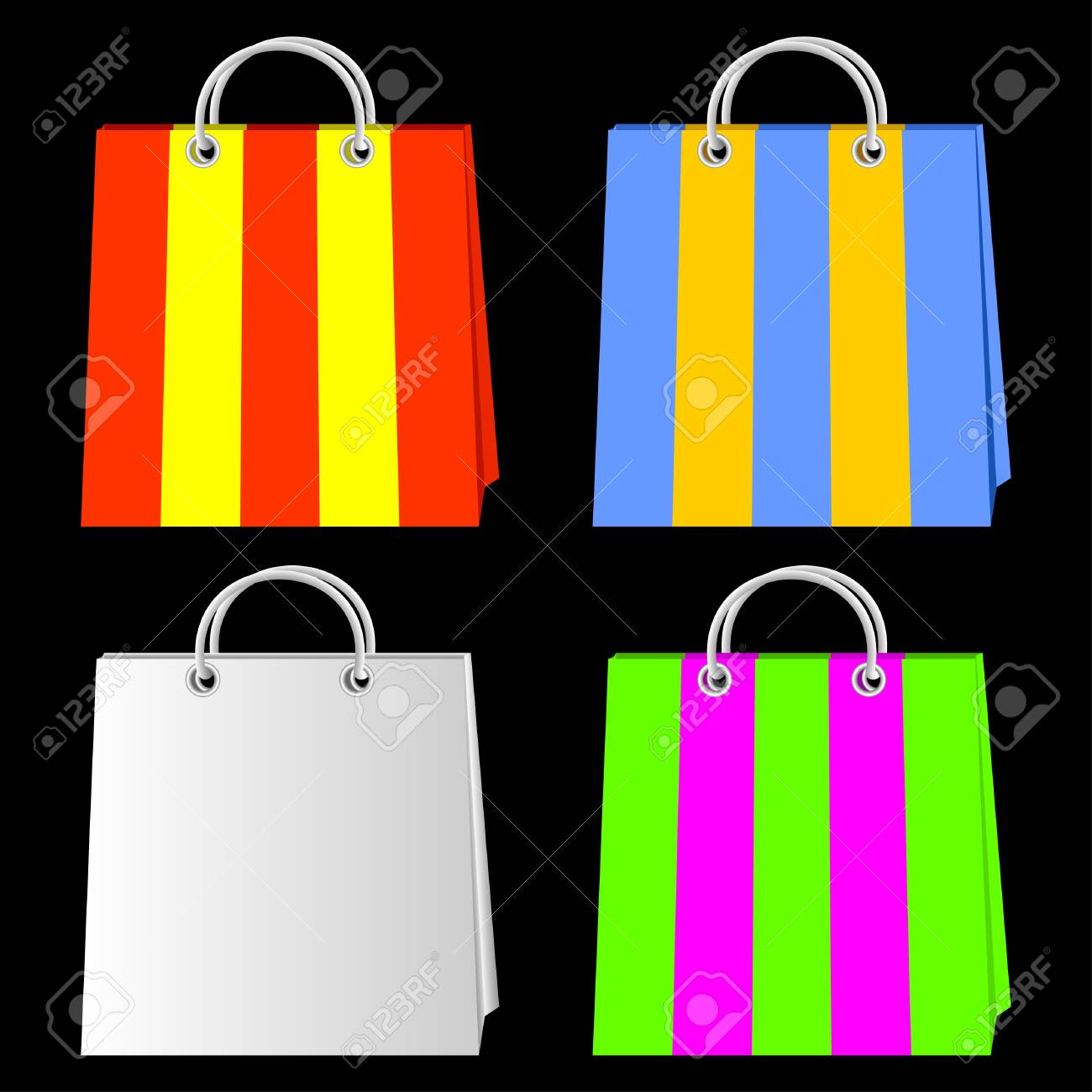 Color bags for purchases on a black background. Stock Vector - 9702978