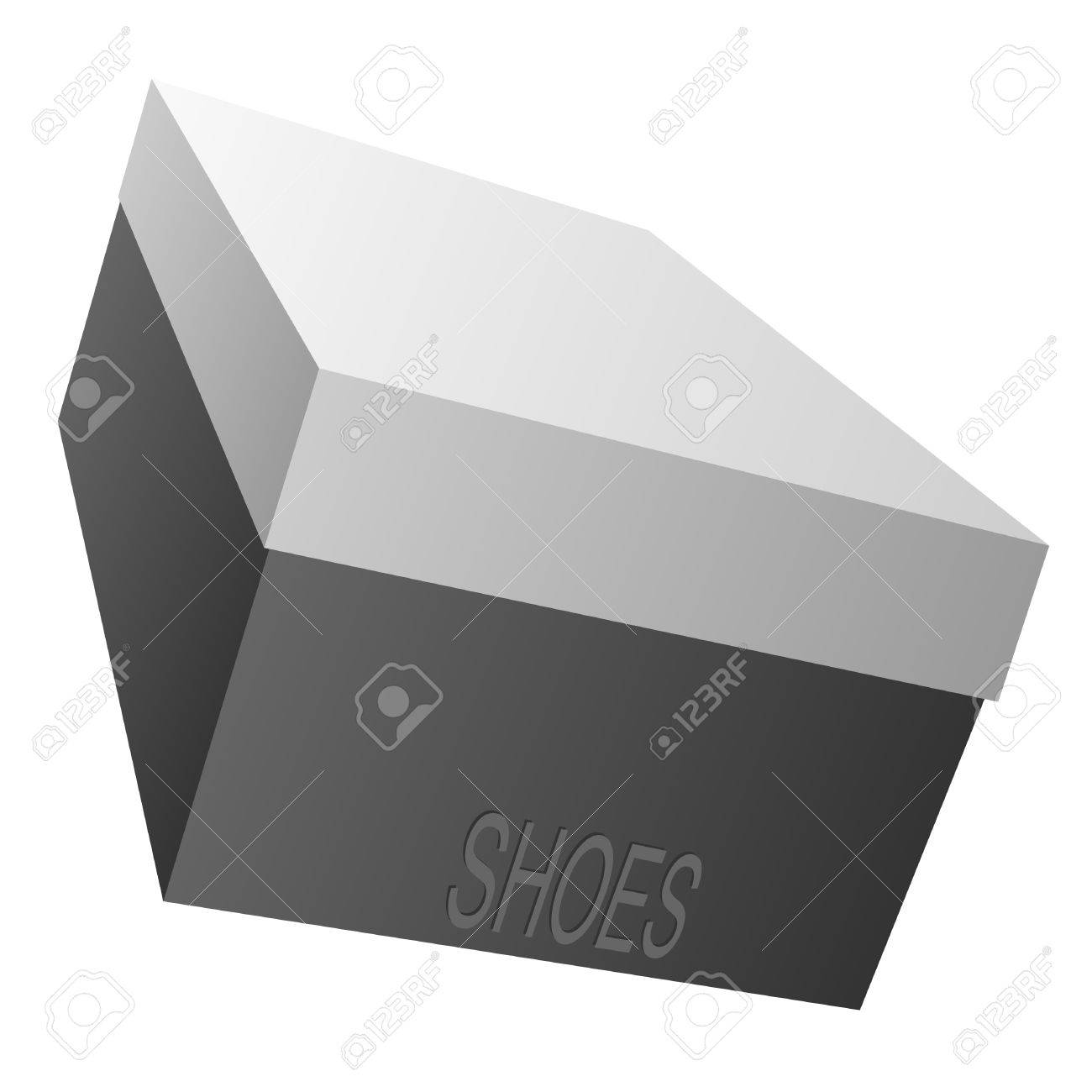 Black box for footwear on a white background. Stock Vector - 9811197