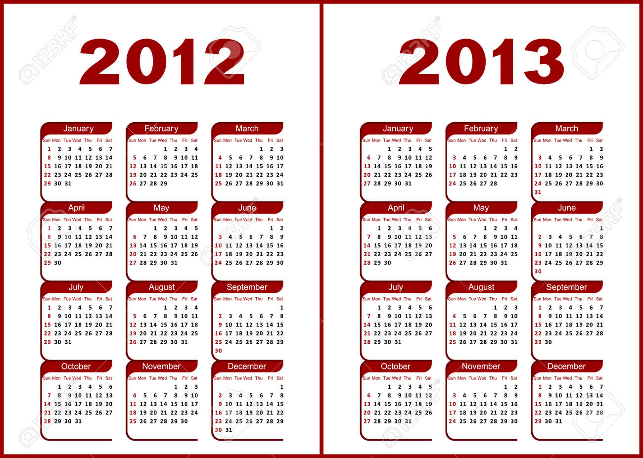 Calendar for 2012,2013.Red  letters and figures on a white background. Stock Vector - 9930009